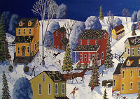 Village lights landscape Christmas gift folk art Criswell ACEO print of painting