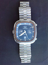 ancien chronographe montre vintage SILVERSTONE TAG HEUER watch chronograph blue