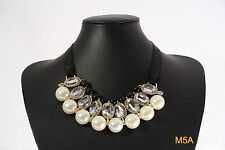 New Fashion Rhinestone Elegant Pearl Collar Rib Choker Necklace Black/White