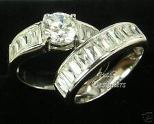 2.3 ct Brilliant/Baguette Cut Wedding Ring Set, Size 8