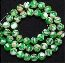 8mm Green Mother Of Pearl Shell Round Loose Beads 15""