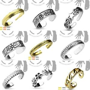 Adjustable Toe Ring Rhodium / Gold / Rose Gold - Choose from 9 Designs