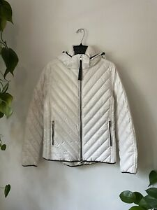 Rag & Bone JEAN Quilted Down White Zip Jacket Coat with Removable Hood XS