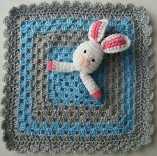 HANDMADE CROCHET BABY BUNNY LIGHT BLUE, GREY COMFORTER BLANKET 31cm x31cm