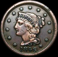 1846 Braided Hair Large Cent Type Penny---- NICE ---- #A089