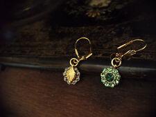 Vintage Peridot & Emerald Green Crystal Drop Pierced Earrings with leaf detail