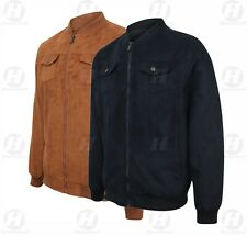 Mens Faux Tan Navy Suede Harrington Pilot Retro Mod Bomber Style Jacket S To 5XL