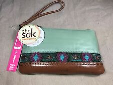New$89 The Sak Sanibel Mint Bead Green Pebbled Leather Phone Charging Wristlet