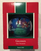 Vintage Hallmark Keepsake Christmas Ornament Grandson 1989 Glass Ball NEW
