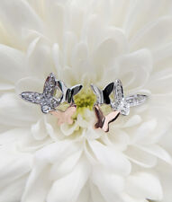 9ct Two Colour White Rose Gold & Diamond Butterfly Stud Earrings