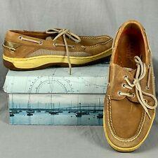 Sperry Top Sider Dark Tan Billfish 3 Eye Boat Shoe Men's 9 M Leather Loafers