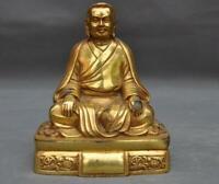 Old Tibet Buddhism temple bronze Gilt Padmasambhava Guru Rinpoche Buddha Statue