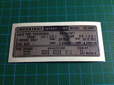 HONDA GOLDWING GL1000 pneu Info decal