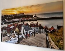 WHITBY YELLOW SUNSET CANVAS WALL ART  PICTURE  18  X 32 INCH