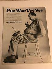 "1965 VINTAGE 10X13 Print Ad THE 4"" SONY TELEVISION PEE WEE TEE VEE TV ON LAP"