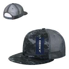 Gray Digital Camo Camouflage Flat Bill 5 Panel Military Trucker Baseball Cap Hat