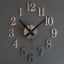 3D Frameless Large Wall Clock 3D Metal Color Surface Sticker Home Office Decor