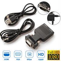 VGA zu HDMI Adapter Full HD 1080P Audio Video Konverter Laptop PC zu TV/HDTV AV