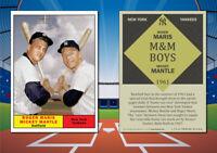 1961 Topps Style MICKEY MANTLE & ROGER MARIS Custom Artist Novelty Baseball Card