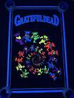 "Original Vtg Grateful Dead Dancing Spiral Bears RARE 35""x23"" Blacklight Poster"