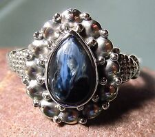 Sterling silver cabochon Pietersite everyday ring UK Q½-¾/US 8.5-8.75