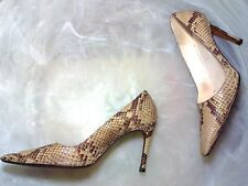 MICHEL PERRY Women's 6.5 M Beige/Brown Snakeskin Pointed Toe Pumps Italy