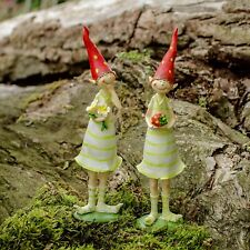 Set of Two Standing Strawberry Pixie Garden Ornaments In Coloured Resin