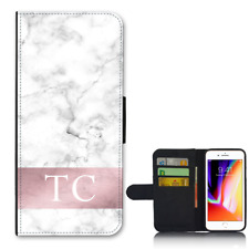 For Apple iPhone 8 PLUS Wallet Flip Case PERSONALISED Initials Marble Y01507