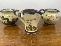 Vintage Torquay Pottery England Motto Ware Creamer Pitcher Lot of 3