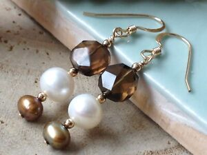 Smokey Quartz Coin Gemstones & Freshwater Pearls 14ct Rolled Gold Earrings
