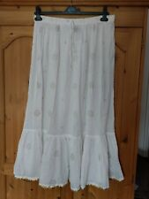 White Summer Maxi Skirt Gypsy Boho Hippy Holiday Size M