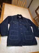 New listing Big Mac Mens Denim Chore Coat Blanket Lined Railroad Work Jacket Vintage 46 Tall