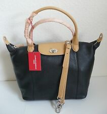 Charles Jourdan Paris Dee Tote Black Beige Pebbled Leather Shoulder Strap NWT
