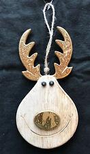 3 XL 19 cm Legno Renna Scandi Natale Albero Decorazione da Appendere Oro Naso