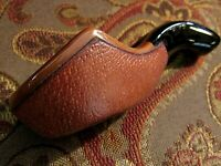 Vintage, Custom Made, Leather Overlay Porcelain SINGLE PIPE HOLDER