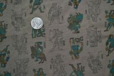 """Cotton quilting fabric, brown Medieval knight print, 38"""" x 5 yards, vintage"""