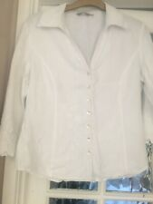 Ladies Marks And Spenncer Per Una White Linen Blouse Size 14