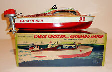 LINEMAR Japan Tin Litho Batt Op VACATIONER CABIN CRUISER + EVINSON MOTOR w/ BOX