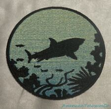 Embroidered Great White Shark Silhouette Ombre Circle Patch Iron On Sew On USA
