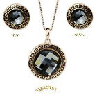 18K GOLD PLATED & GENUINE CUBIC ZIRCONIA SMOKEY GREY NECKLACE & EARRING SET