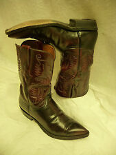 "LUCCHESE Mens Cowboy Western Boots Size 8.5 2E Burgundy USA Leather 11.5"" Tall"