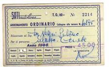 TESSERA ABBONAMENTO ORDINARIO SATI AUTOLINEE ALASSIO CERIALE 1960 13-93
