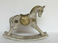 Handcrafted Wooden Brass Fitted Rocking Horse Statue Home Decor