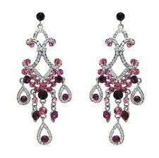 Peace - Two Toned Pink and Clear Rhinestone Chandelier Drop Earrings