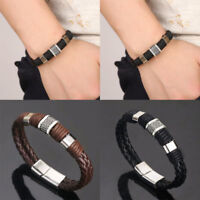 Fashion Mens Leather Braided Wristband Bracelet Stainless Steel Titanium Clasp