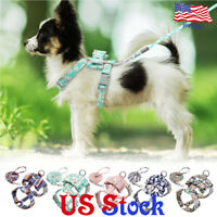 Small Medium Pet Dog Cat Floral Printed Strap Harnesses Leash Collar Rope Vest