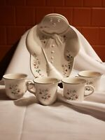 Pfaltzgraff Winterberry Christmas Snowman Cookie Plate w/4 Mugs for Coffee/Cocoa