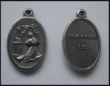 PEWTER CHARM #1332 PRAY FOR US praying medallion (25mm x 16mm) 1 bail