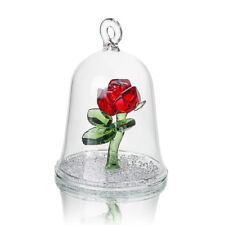 Crystal Beauty and the Beast Enchanted Red Rose Glass Sculpture in Glass Dome