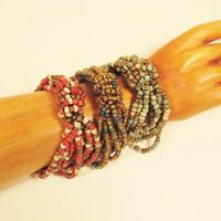 Set of 3 Rustic Red Gold Handmade Beaded Stretch Elastic Seed Bead Bracelets